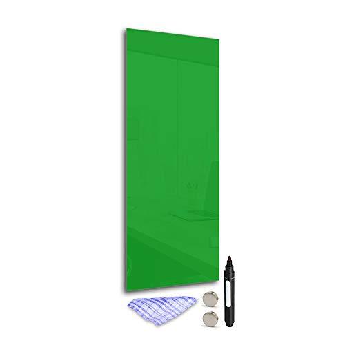 DekoGlas Magnettafel 'Grün' aus Glas 100x40cm, Memoboard inkl. Stift, Tuch & Magnet, Metall-Pinnwand für Küche & Büro