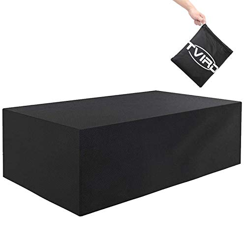 Tvird Funda para Muebles de Jardín,Copertura Impermeable para Mesas Rectangular,Cubierta de Exterior Funda Protectora Muebles Mesas Sillas Sofás Exterior 600D Oxford (242 x 162 x 100CM) -Negro