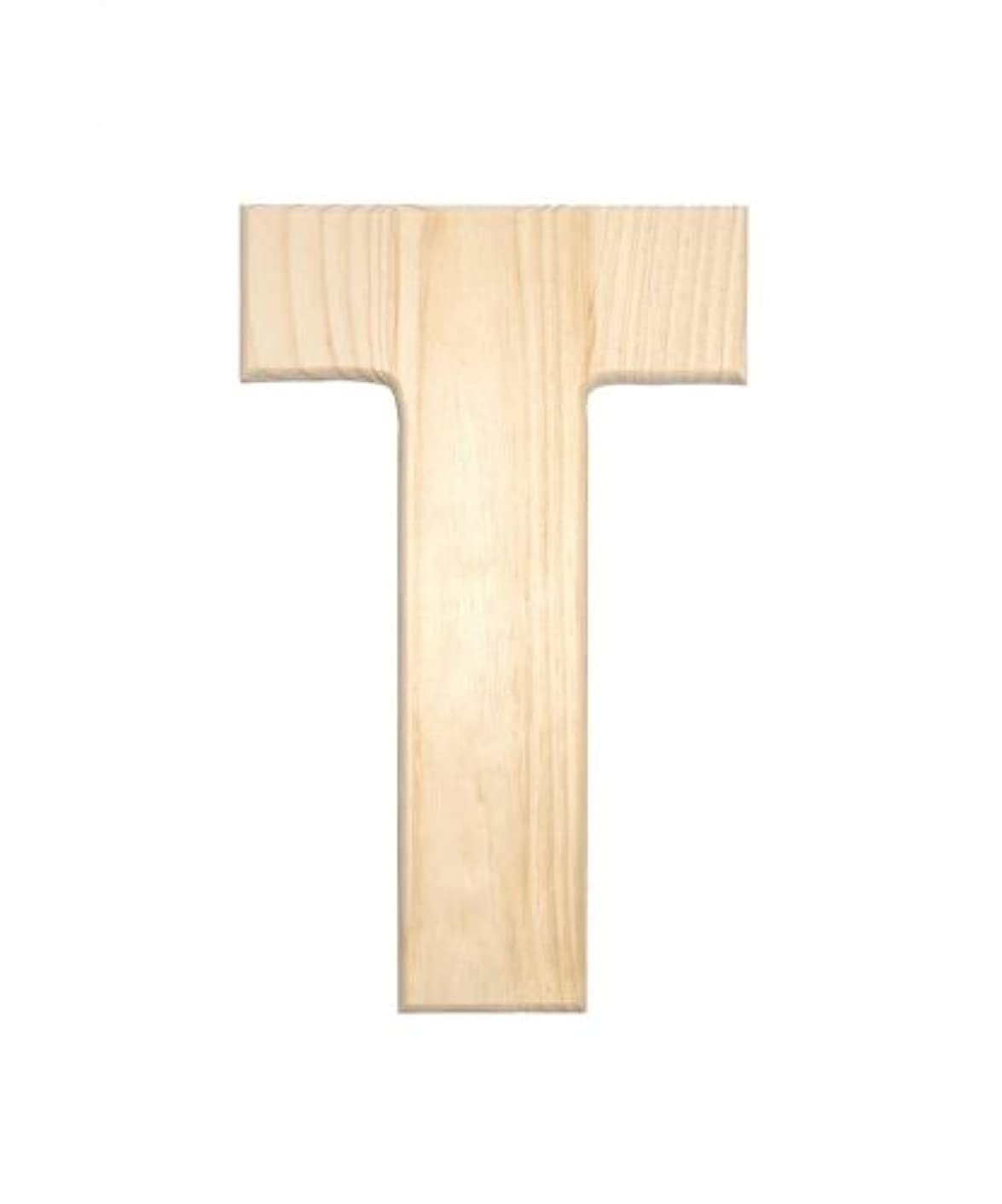 Darice 0993-T Natural Unfinished Wood Letter T, 12-Inch