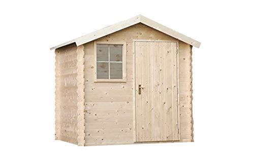 #Alpholz Gerätehaus Antwerpen 210 x 210cm aus Fichten-Holz | Gartenhaus inkl. Dachpappe | Geräteschuppen naturbelassen ohne Farbbehandlung (210 x 210cm)#