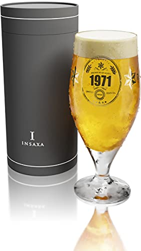 50th Birthday Gifts Men - Limited Edition 1971 Premium Quality Beer Glass...