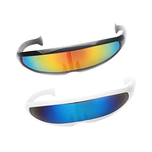 D DOLITY Pack de 2 gafas de sol futurista con espejo, para...