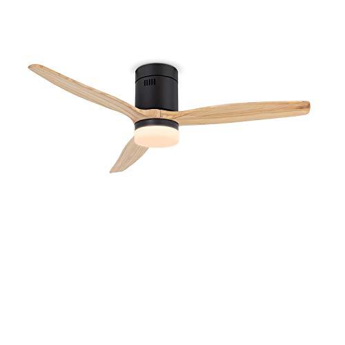 CREATE IKOHS WINDCALM DC STYLANCE BLACK- Ventilador de Techo con Luz, Silencioso,3 Aspas, Mando a Distancia,132 cm de Diámetro,6 Velocidades,Temporizador, Aspas de Madera,Motor DC,40W (Madera Natural)