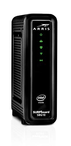 ARRIS SURFboard SBG10 DOCSIS 3.0 Cable Modem & AC1600 Dual Band Wi-Fi Router, Approved for Cox, Spectrum, Xfinity… 4 3 products in 1: DOCSIS 3 0 Cable Modem, AC1600 dual-band Wi-Fi Router, 2 Port Gigabit Ethernet Router (cable digital voice service not supported) Wi-Fi 5 AC1600 dual-band concurrent Wi-Fi Router with 2 Gigabit Ethernet ports Setup and manage your network with the SURFboard Manager app