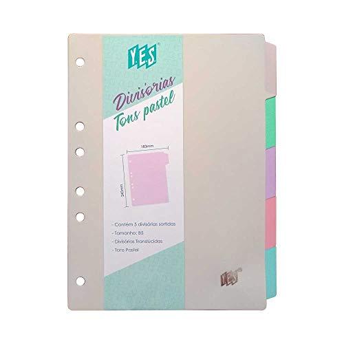 Divisórias Tons Pastel, YES, 5TBCS, formato B5, Furação Universal 5 Divisões Sortidas