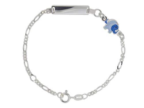 AKA Gioielli® - Kinder ID Armband 925 Sterling Silber mit Blauer emaille Elefant, Geschenk für mädchen und Jungen