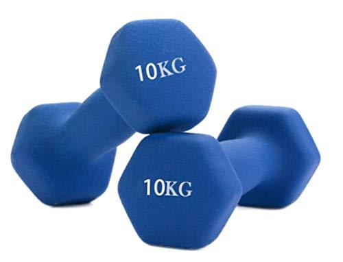 WENHAUS Kurzhanteln 10KG Blau paarweise Freihandheben Gewichte für Zuhause - Heimtraining Hantel Gymnastik Fitness Krafttraining (10KG Blau)
