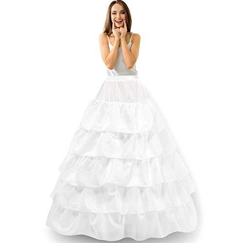 Reifrock onderrok petticoat dames trouwjurken Underskirt Krinoline bruidsjurken met lagen tule voor bruiloft party barokjurk slip rok verstelbaar onderrok - 4 Hoop 5 Flouncing White