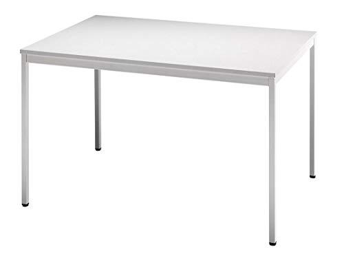 Besprechungstisch V-Serie DR-Büro - Maße 120 x 80 cm - erweiterbares Tischsystem grau - Tischfuß und Rahmen eckig - Meetingtisch Höhe einstellbar 72 cm
