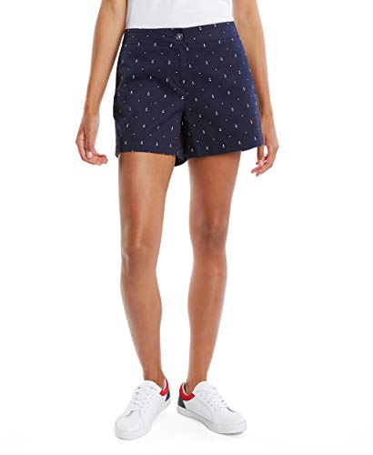 Nautica Women's Traditional Collection's Tailored Stretch Cotton Patterned Short, Bright White, 6