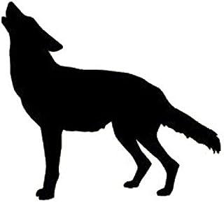 狼 おおかみ オオカミ WOLF ウルフ 遠吠え 動物 シルエット マーク  ステッカー シール デカール ブラック