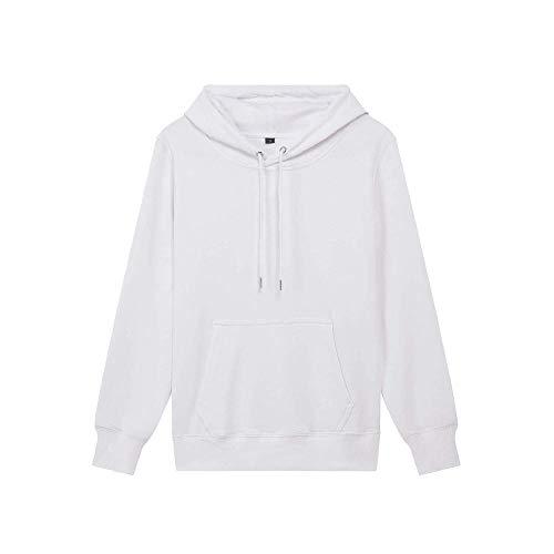 U/A de color sólido de los hombres sueltos Terry Jumper Deportes de algodón con capucha forro suéter traje de pareja Blanco blanco XXL