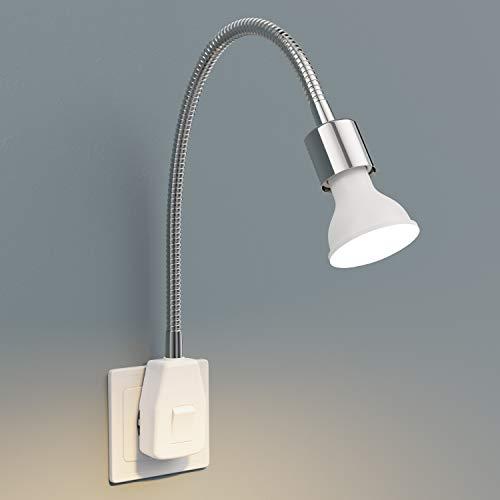 ledscom.de Steckdosenlampe LESCH Leselampe Schwanenhals, Schalter, Chrom inkl. GU10 LED Lampe 4,5W =32W 340lm 100° warm-weiß 2700K