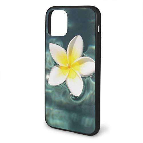 VEELFF funda, compatible con iPhone 11-6.1, funda de silicona líquida, diseño de temática Plumeria flotante en la piscina