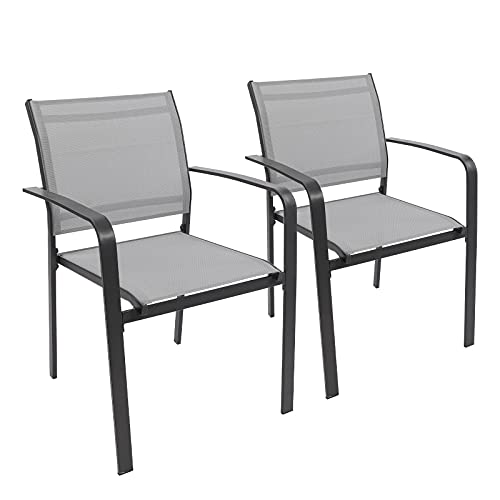 Garden Dining Chairs Set of 2, Stackable Garden Chairs with Armrest, Outdoor Furniture Party Seat Dining Chairs with Textilene Fabric Metal Frame for Indoor Outdoor Garden Patio Kitchen Dining Room