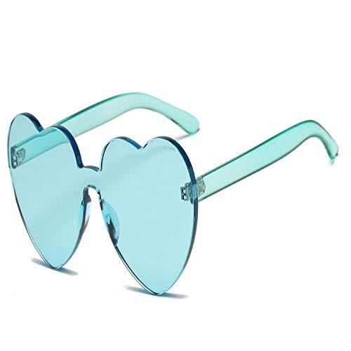 Moda Verde Uv400 Femminile Uv400 Femminile di Disegno Originale Occhiali da Sole del Cuore di Amore dell'Annata Senza Montatura degli Occhiali da Sole di Nuovo Modo T