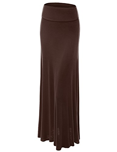 Lock and Love WB670 Womens Fold-Over Maxi Skirt XXL Brown