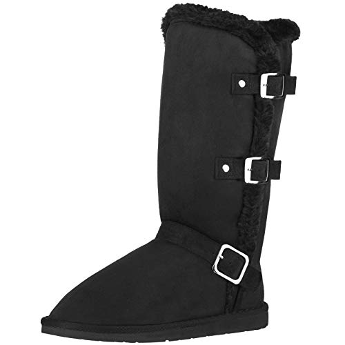 CLOVERLY Women's Winter Snow Boots with Buckles Vegan Leather Mid-Calf Fur Boots (11 M US, Black)