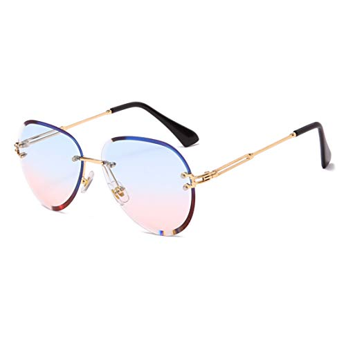 YAMEIZE Fashion Rimless Sunglasses for Women Men Ultralight Metal Frame Candy Color Vintage Round Frameless Glasses UV400 (Blue and pink)