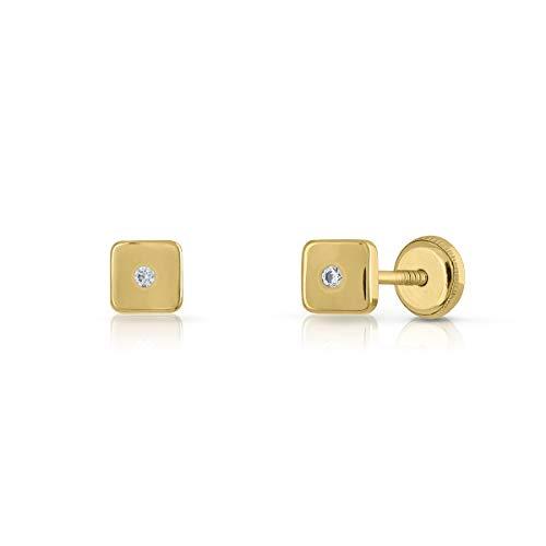 Pendientes Oro de Ley Certificado, cuadrado con circón engastada de 1.5mm. Medida joya 5 mm, con cierre de rosca.