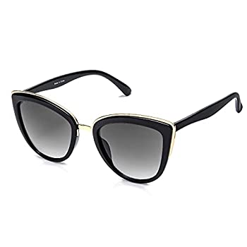 SKYWAY Retro Vintage Cat Eye Sunglasses for Women PC Metal Frame Classic Style UV Protection  grey gradient