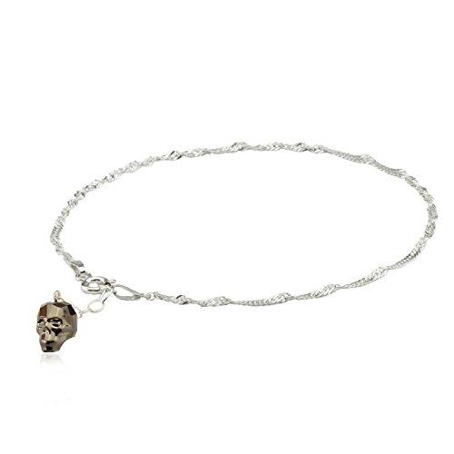 Fußkette,Fußkettchen 925 Silber mit Swarovski Elements Anhänger Skull, Totenkopf in verschiedenen Farben (Metallic Light Gold)