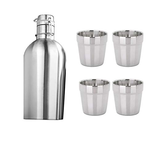 P Prettyia 1 Piece of Growler Beer + 4 Pieces of 180ml Stainless Steel Glasses for Home