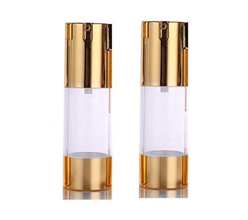 Goldene luftlose Pumpflaschen - leer, nachfüllbarer Kunststoff-Bajonettsockel, Creme, Lotion, Toner, Kosmetik, Toilette, Flüssigkeitsbehälter