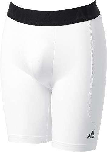 adidas Boys Triple Stripe Sliding Shorts w/Cup (White, Large)