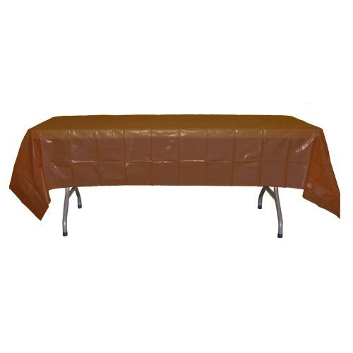 12-Pack Premium Plastic Tablecloth 54in. x 108in. Rectangle Table Cover - Brown