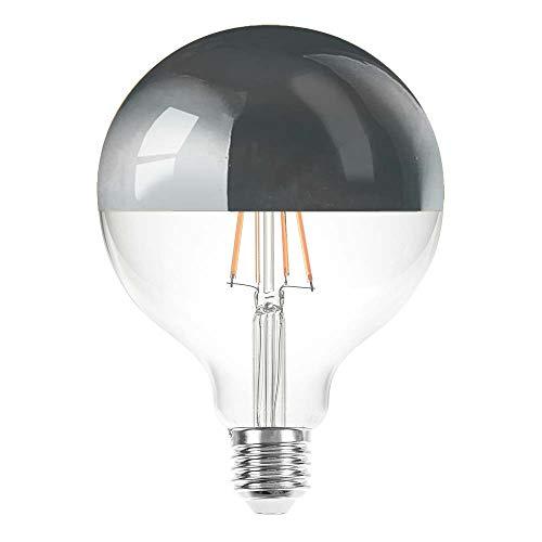 Lampadina a filamento LED Globe G125 4W = 40W E27 specchio argento 400lm extra bianco caldo 2200K Retro Nostalgia