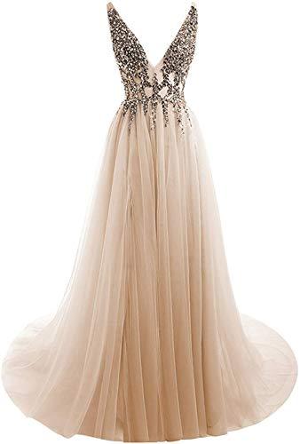HONGFUYU Ballkleider Sexy Tiefer V-Ausschnitt Pailletten Perlen Tüll und Spitze High Split Lange Abendkleider Brautkleid Brautkleid Gr. 36, champagnerfarben