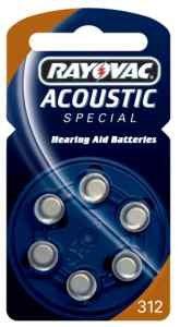 Hörgerätebatterie Rayovac Knopf Acoustic S. 312 (PR41) 6er-Pac Batterien