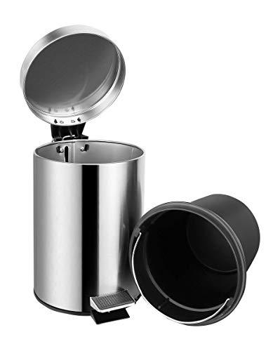 Ambrosya® | Exklusiver Kosmetikeimer aus Edelstahl | Abfall Abfalleimer Bad Badezimmer Deckel Liter Müll Müllbeutel Mülleimer Pedal Toilette Treteimer WC (Edelstahl (Gebürstet), 3 Liter)