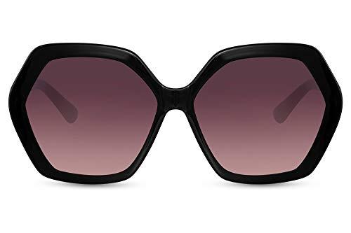 Cheapass Sunglasses - Gafas de sol de gran tamaño, cuadradas, con bordes gruesos, negro brillante con lentes degradados, protección UV400, elegancia moderna para mujer