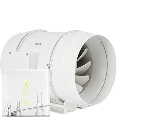 Regelbar Rohrventilator 200mm - HG POWER Stark Inline-Lüfter mit Rohrventilator Drehzahlregler Energiesparend Leise Ventilator Kanalventilator Badlüfter Rohrlüfter für Küchen Badezimmer Garage usw