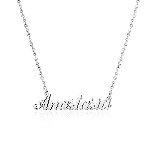 Hidepoo Custom Name Necklace Personalized – Stainless Steel Customized Name Pendant Necklace,Dainty Letter Name Necklace Chain Custom Personalized Jewelry Gifts for Women Girls