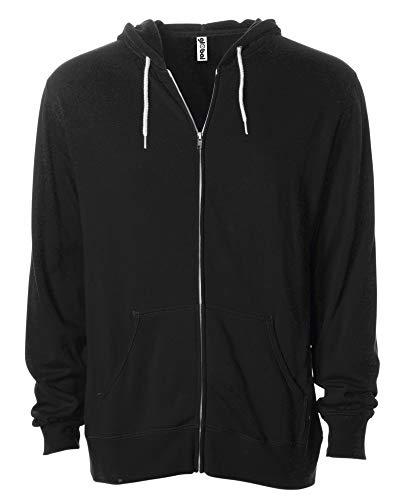 Global Blank Mens or Womens Sweatshirt White Zipper Lightweight Hoodie Black XS