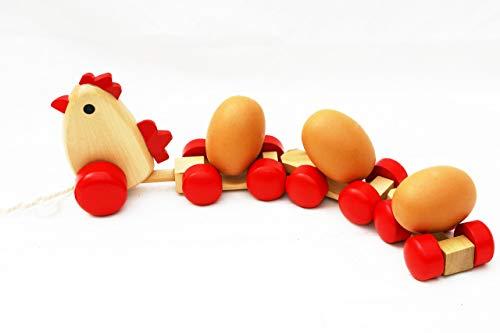 TOWO Juguete de Arrastre - Juguete de Madera con 3 Huevos de Madera para arrastrar - Arrastre para bebes - Juguetes de Madera para el bebé - Primer Paso de niño - Caminar bebe con camion de madera