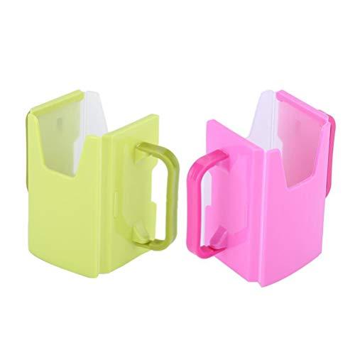 TOPBATHY 2 Stücke Baby trinkbecher Halter Griff Wasser Tasse Flasche einstellbare Anti-überlauf Box für Infant Kleinkind (grün und rosig)