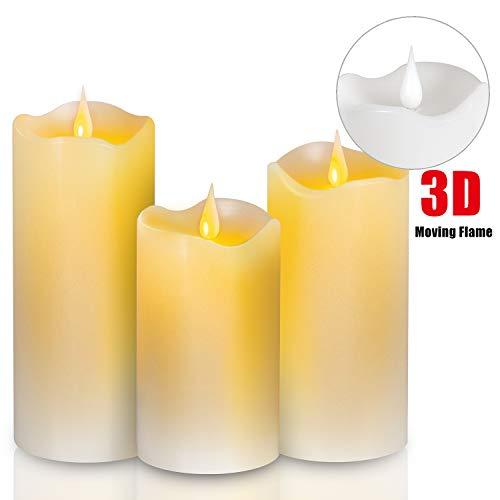 """SunJas LED Kerzen Flackernde 3D Flamme 3er, Flammenlose Echtwachskerzen mit Timer, 4/8 Stunden Batteriebetriebene Kerze für Weihnachtsdeko, Hochzeit, Geburtstags, Party (Weiß, 5\""""/6\""""/7\"""")"""