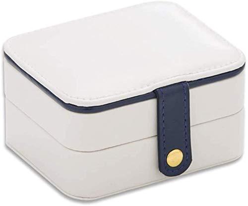 Gymqian Caja de Joyería Creativa de Tres Capas Caja de Alenamiento de Joyería Portátil Caja de Joyería Pu Cajas de Joyería Vintage Caja Portátil/Blanco