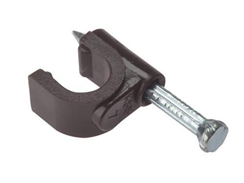 Forgefix rcc67br–Klammer Kabelklammer mit Nagel für Koaxialkabel, mit Sockel rund, Farbe: Braun