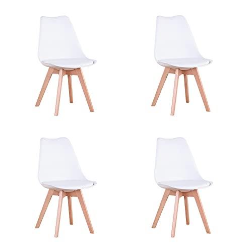 GrandCA HOME Chaise de Salle à Manger Lot de 4, Chaise avec Pieds en hêtre de Style Nordique, Adaptée au Salon Salle à Manger Salon (Blanc-4)
