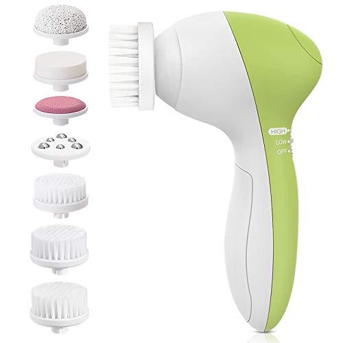 Gesichtsbürste, PIXNOR [Neueste 2020] elektrische Gesichtsbürste 7 in 1 Wasserfest Gesicht bürste mit 2 Stufige Rotations Geschwindigkeiten, Tiefenreinigung Sanfte Exfoliation
