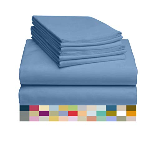 LuxClub 6 PC Sheet Set Bamboo Sheets Deep Pockets 18' Eco Friendly Wrinkle Free Sheets Hypoallergenic Anti-Bacteria...
