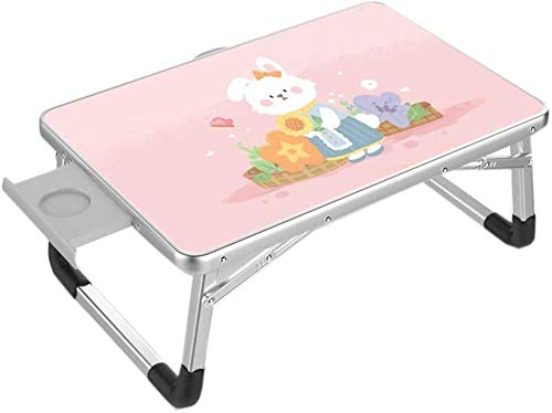 ZXL Bureau pour Ordinateur Portable, Table de lit Pliante Style Mignon avec tiroir pour résidences étudiantes (50 cm * 70 cm) (Couleur: E)