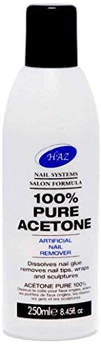 HAZ - 100% Pure Acetone, Solvente per unghie, 250 ml