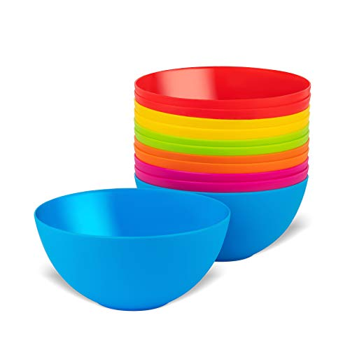 Plaskidy Plastic Bowls Set of 12 Kids Bowls 24 Oz Microwave Dishwasher Safe BPA Free Plastic Cereal Bowls for Kids Brightly Colored Children Bowls Great for Cereal, Soup, Snack, Fruit or Salad