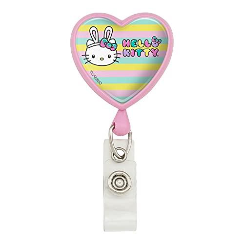 Hello Kitty Easter Bunny Heart Lanyard Retractable Reel Badge ID Card Holder